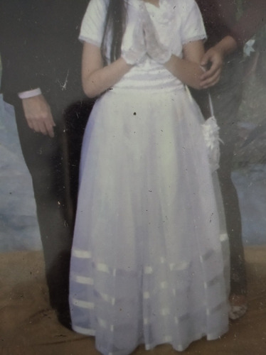 vestido de comunion con los zapatos 35, el bolso, tocado.