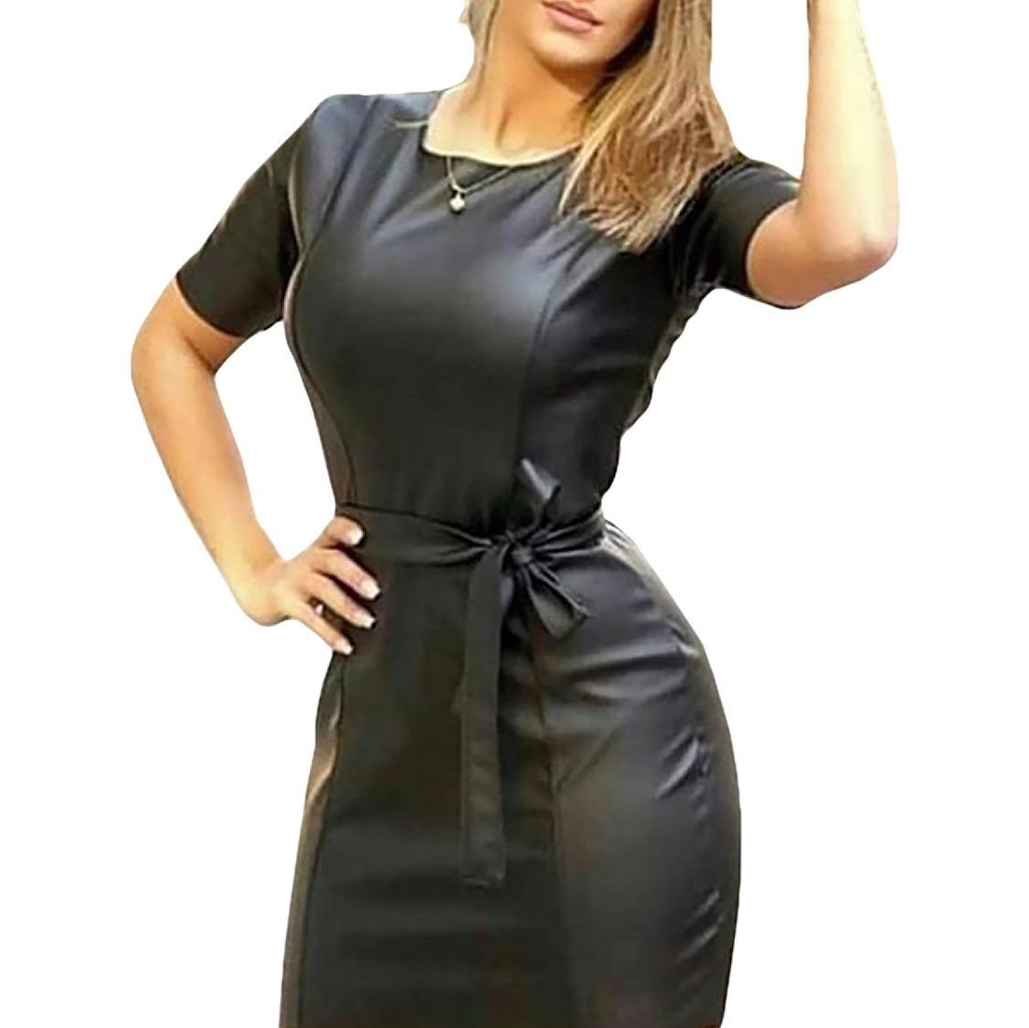 e1310b6f28 vestido de couro ecológico preto com manga curta. Carregando zoom.