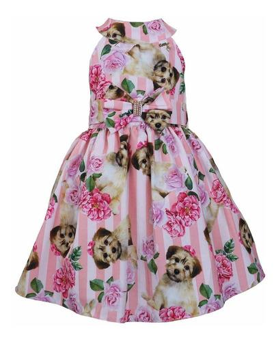 vestido de criança para festa estampa de cachorro katitus