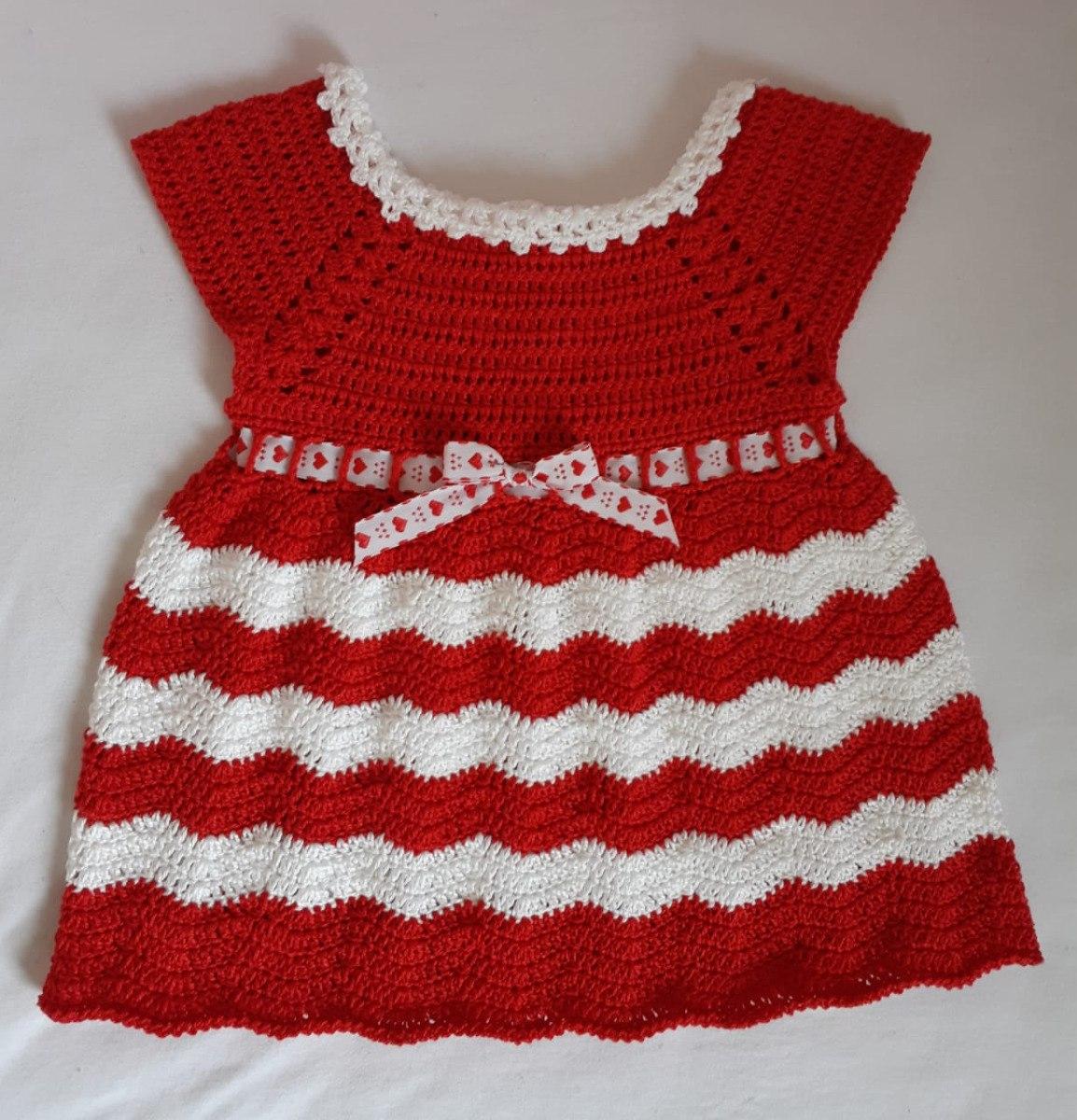 Vestido De Croche Natal Sob Medida Para Criança Até 2 Anos