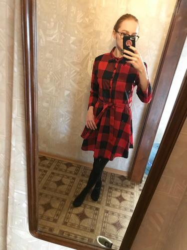 vestido de cuadros camisero