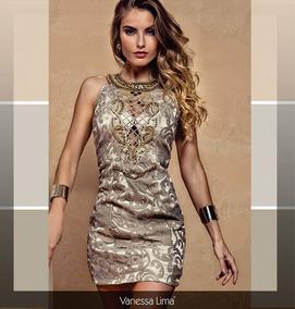 0fcfd2783 Vestido Festa Curto Bronze Bordado - Vestidos no Mercado Livre Brasil