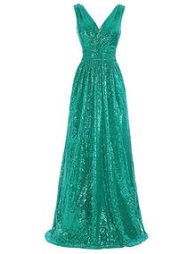 a547b805e Vestido De Dama De Honor Con Lentejuelas Kate Kasin Verde