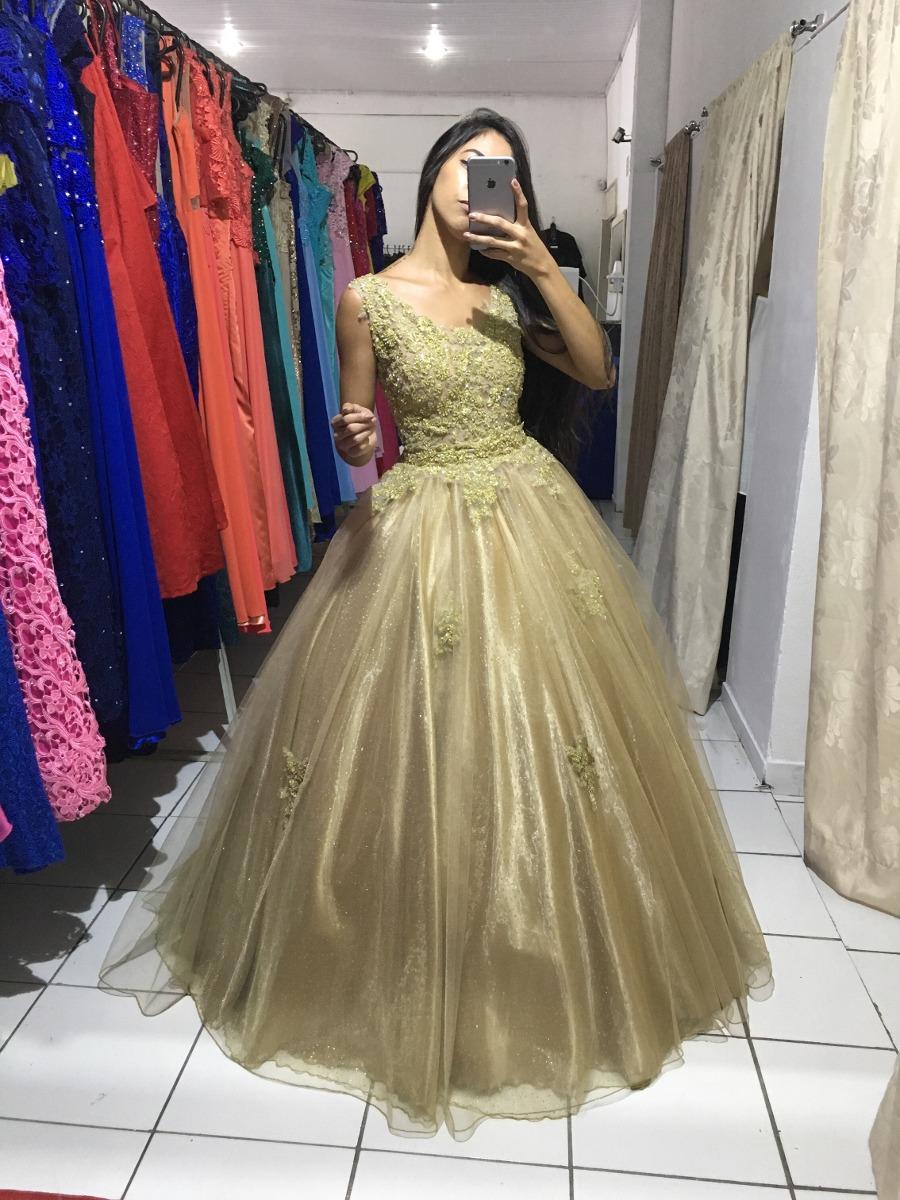 Vestido De Debutante 2 Em 1 Na Cor Dourada