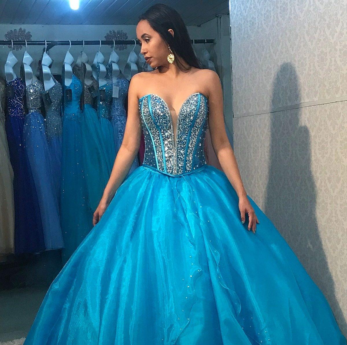 Vestido De Debutante Azul Turquesa 2 Em 1 Festa De 15 Anos
