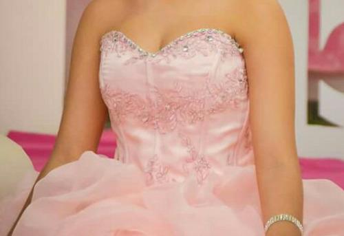 vestido de debutante/15 anos/ 2 em 1 rosa longo e o curto