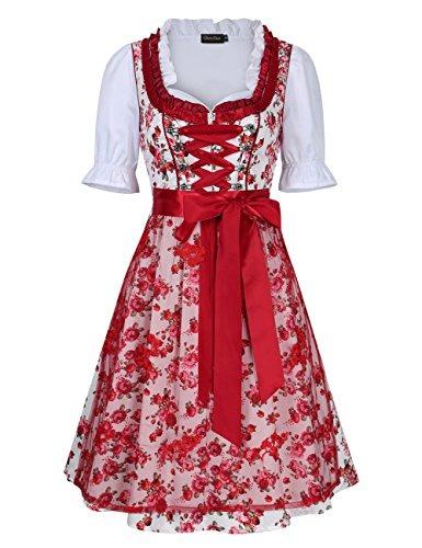 Vestido De Dirndl Para Mujer Glorystar De 3 Piezas Disfraces ... 2f66b7cd57e