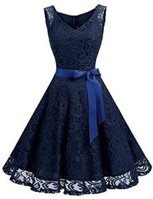 0bc403491 Vestido De Encaje Color Azul Marin Marca Dressystar Talla Xl