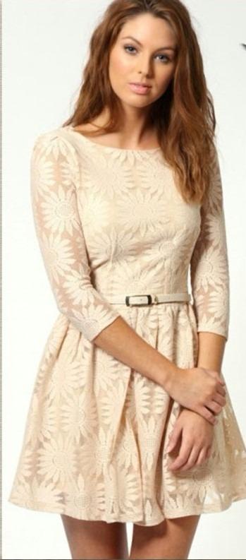 Vestido De Encaje Color Perla 100 Calidad Envio Inmediato
