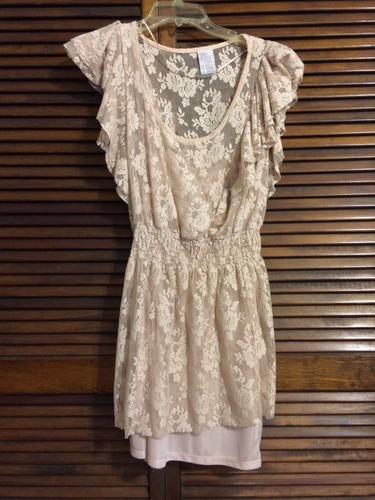 vestido de encaje color rosa cuarzo talla chica-mediana