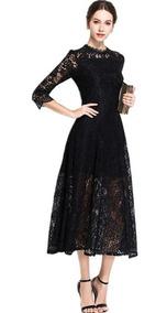 Vestido De Encaje Elegante Para Fiestas De Noche O Día