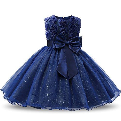 eeade1275 Vestido De Encaje Flor 3d Tutu Hermoso Elegante Para Niña Az ...