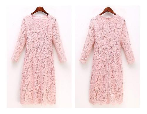 vestido de encaje floral rosado