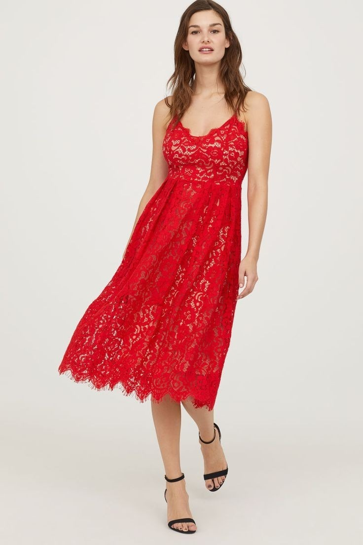 calidad y cantidad asegurada comprar precio moderado Vestido De Encaje H&m Rojo