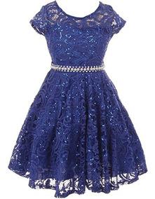 Vestido De Encaje Para Niña Fiesta Graduacion Azul Rey Bny