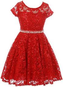 Vestido De Encaje Para Niña Fiesta Graduacion Color Rojo Bny
