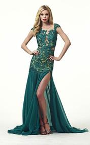 Vestido De Encaje Verde Esmeralda Marca Macduggal Talla Xxs