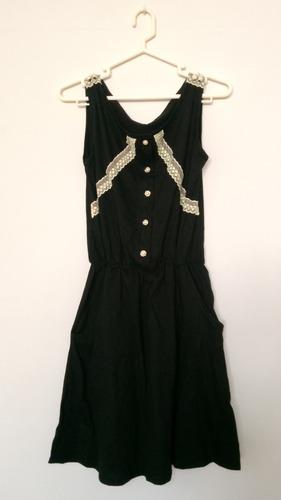 vestido de exportacion algodón negro sin mangas bolsillos