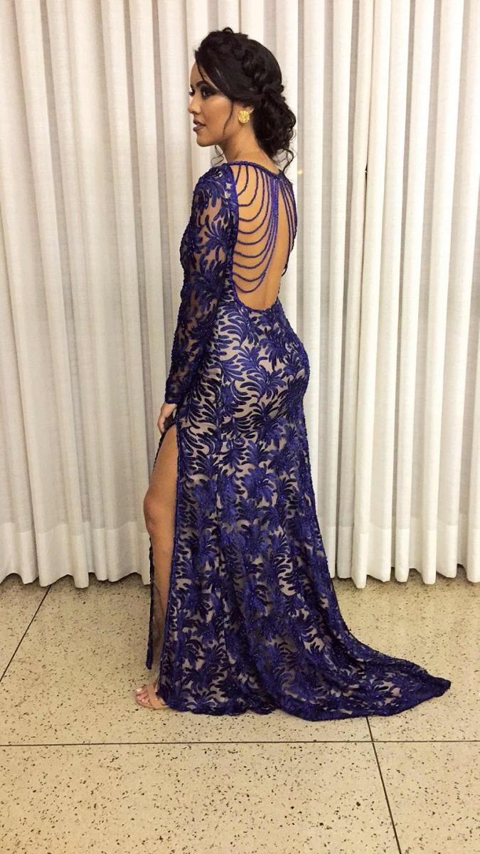 Vestido De Festa Azul Royal Bordado
