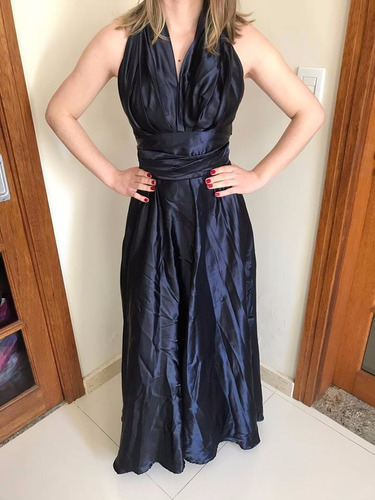 vestido de festa cetim azul