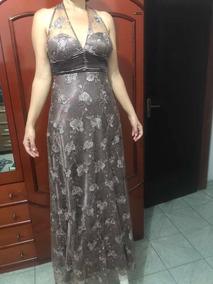 cb396c6ce Vestido Longo Cinza Em Cetim - Calçados, Roupas e Bolsas no Mercado Livre  Brasil