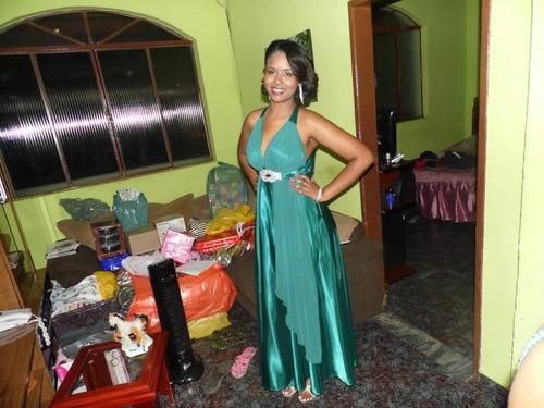 vestido de festa em cetim longo