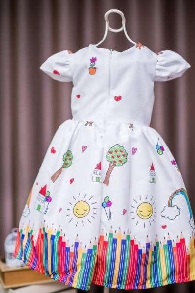 67fd784311 Vestido De Festa Infantil Aquarela - R  149