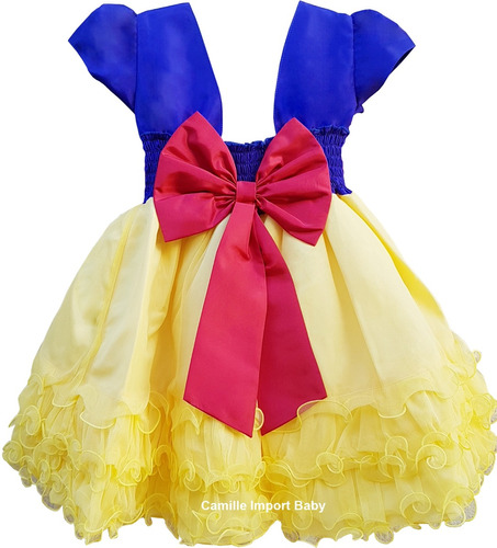 vestido de festa infantil branca de neve luxo e tiara faixa