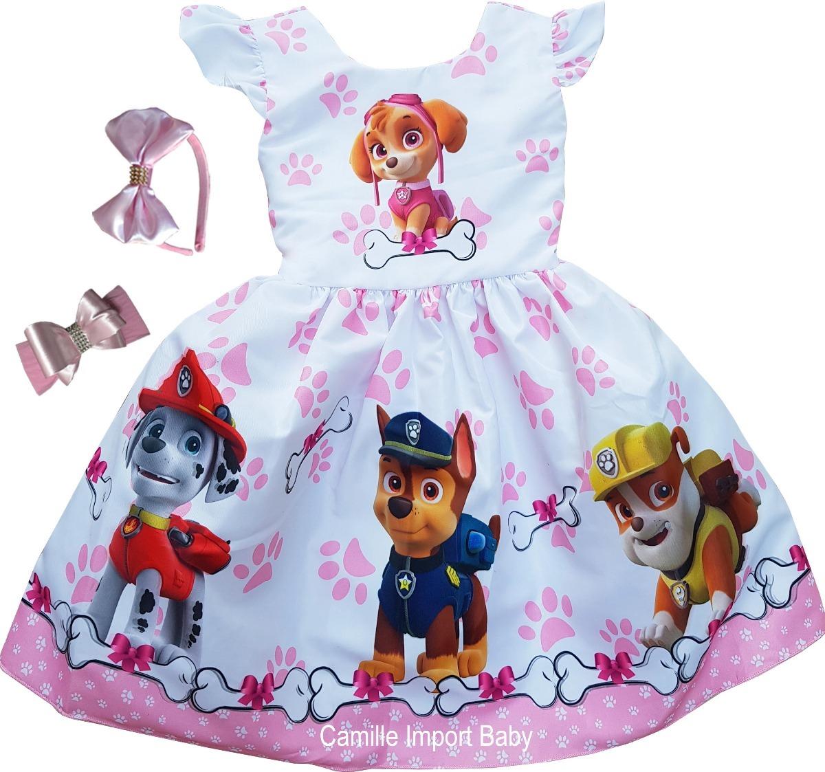 Vestido De Festa Infantil Fantasia Patrulha Canina Promoção