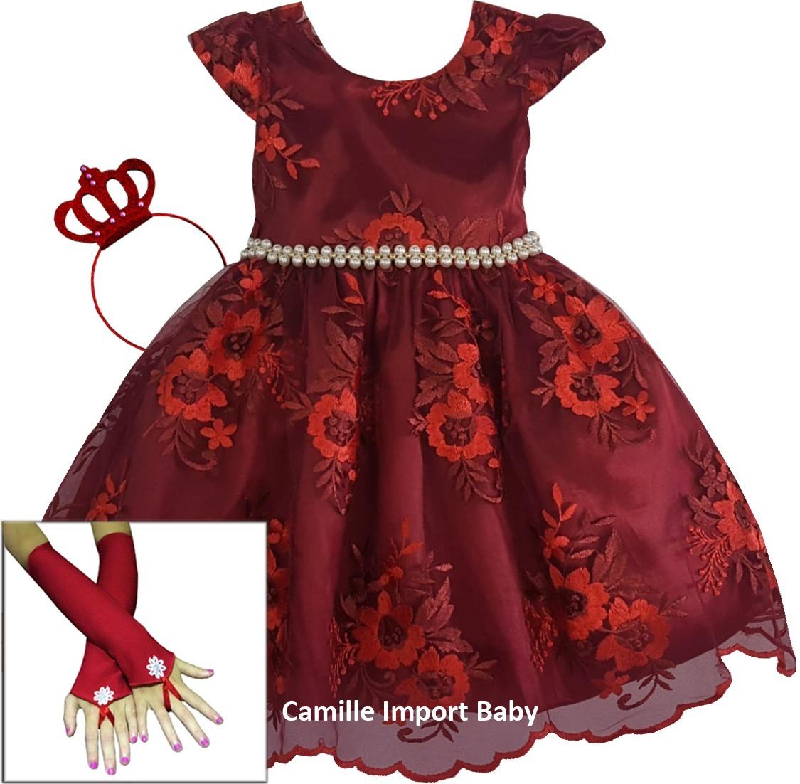 031d9b1abf vestido de festa infantil luxo realeza marsala renda luxo. Carregando zoom.