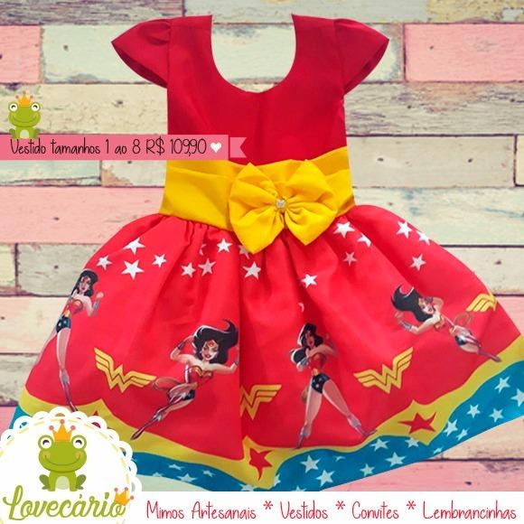 96a87dd656 Vestido De Festa Infantil Mulher Maravilha Luxo - R  109