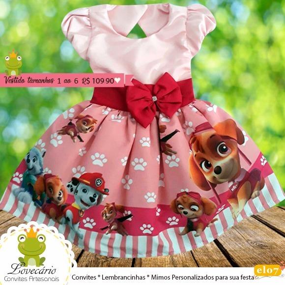 146a641af8 Vestido De Festa Infantil Patrulha Canina Luxo - R  109