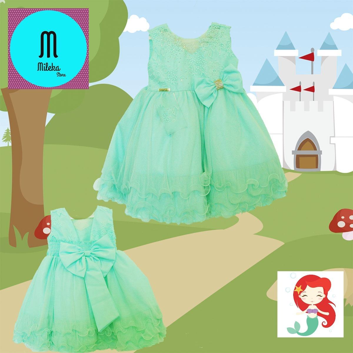 Vestido de festa verde agua infantil