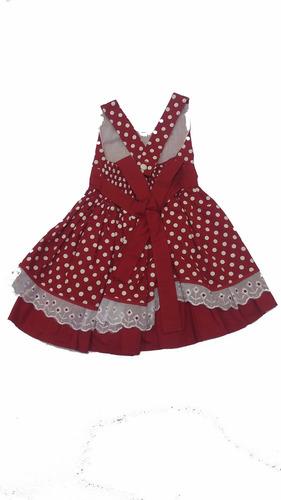 vestido de festa infantil vermelho com bolinhas brancas