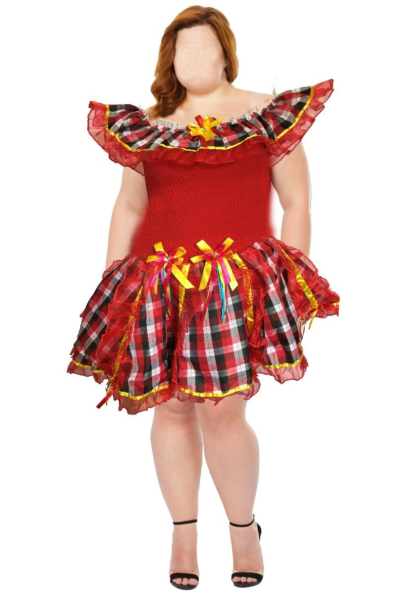 Vestido De Festa Junina Caipira Quadrilha Plus Size 50 - R  159 187c37c974e