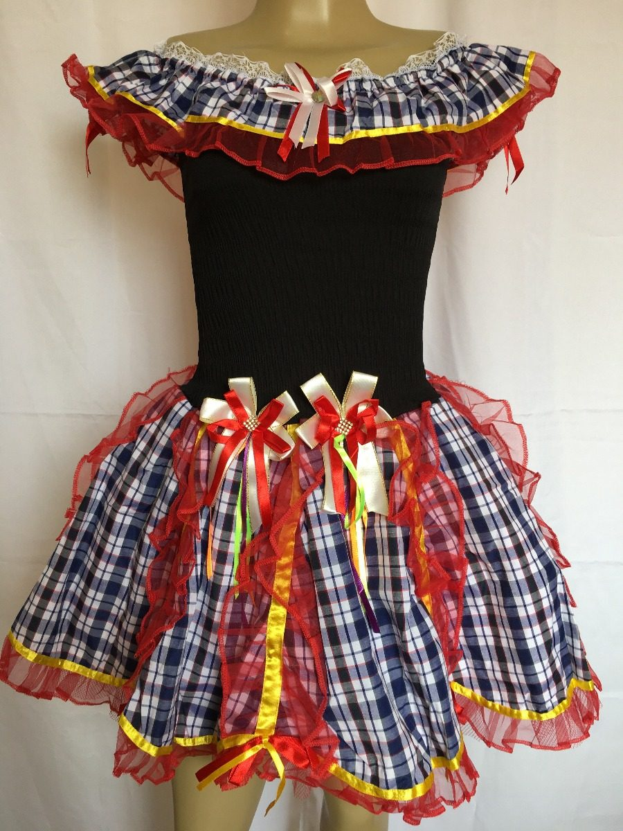 Vestido De Festa Junina Caipira Quadrilha Preto Laços Luxo - R  149 ... 6eb6a8d840e