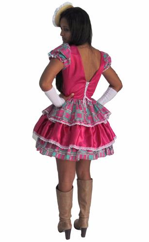 vestido de festa junina caipira  rosa pink  adulto + luva