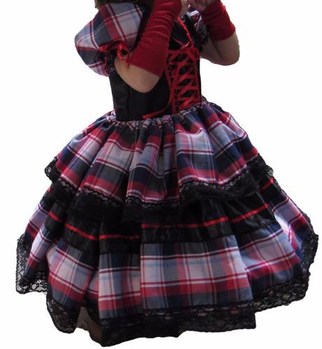 vestido de festa junina caipira xadrez e preto adulto + luva