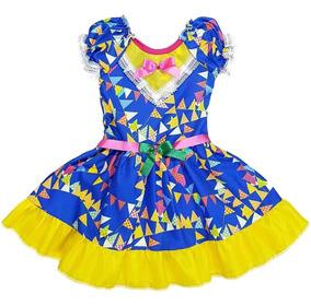 Vestido De Festa Junina Infantil Azul Bandeirinhas Brinde