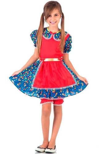 vestido de festa junina infantil vermelha caipira c/ bermuda