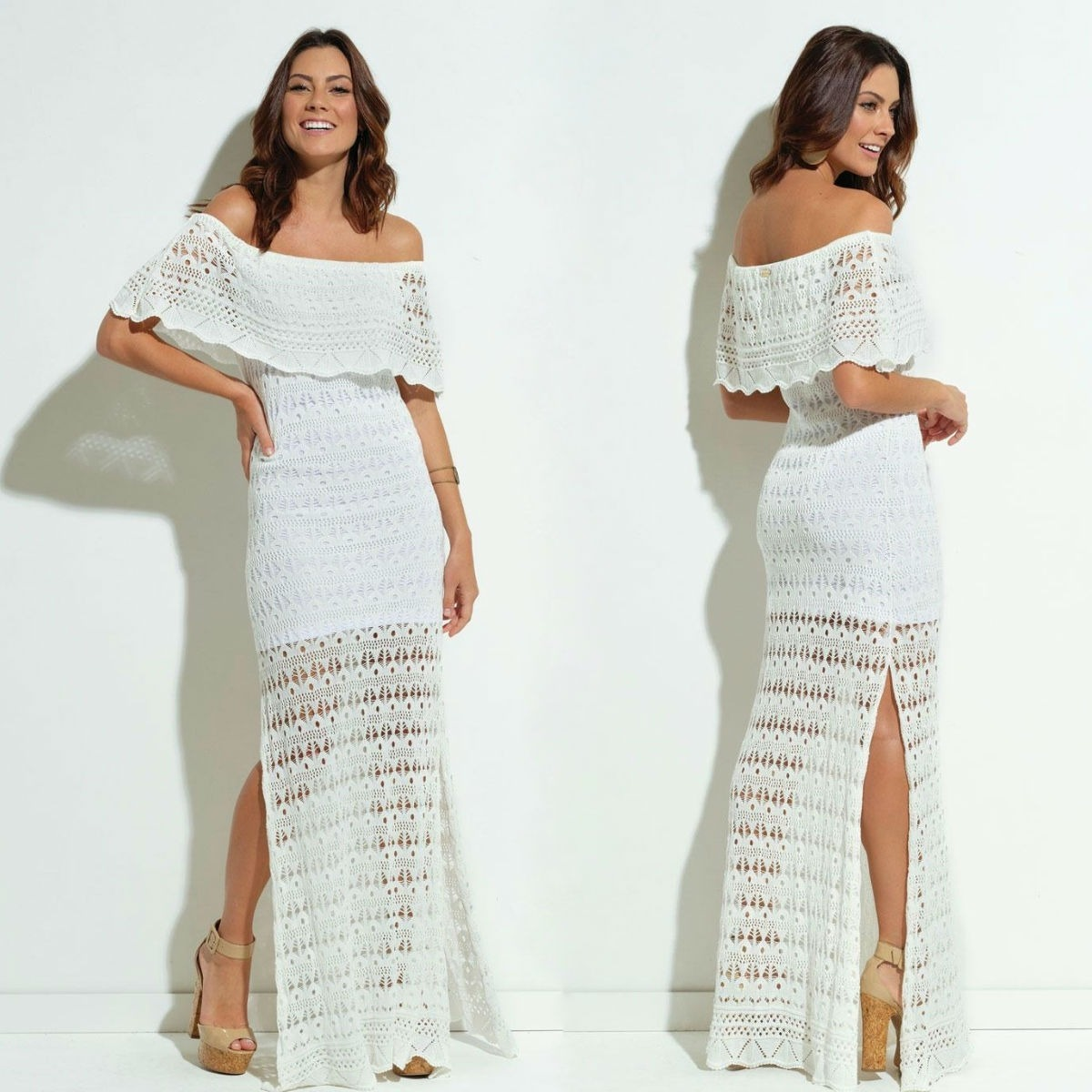 e5aa44e244 vestido de festa longo branco de crochê tricot ciganinha. Carregando zoom.