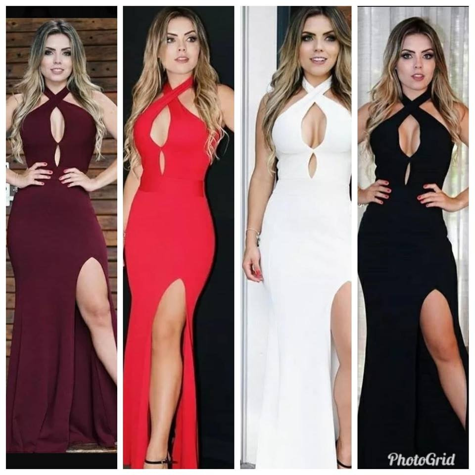 Vestido De Festa Longo Com Bojo Decote Costas Racho Sexy
