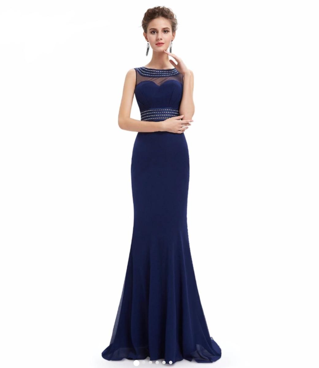 e1b36b9de2 vestido de festa longo em chiffon bordado azul marinho. Carregando zoom.