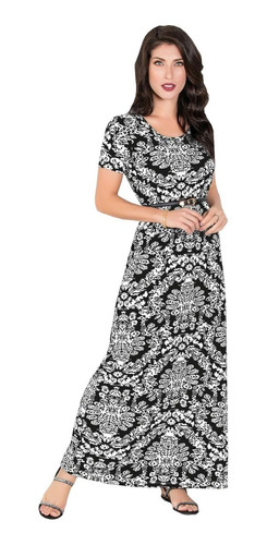 vestido de festa longo moda evangélica estampado feminino