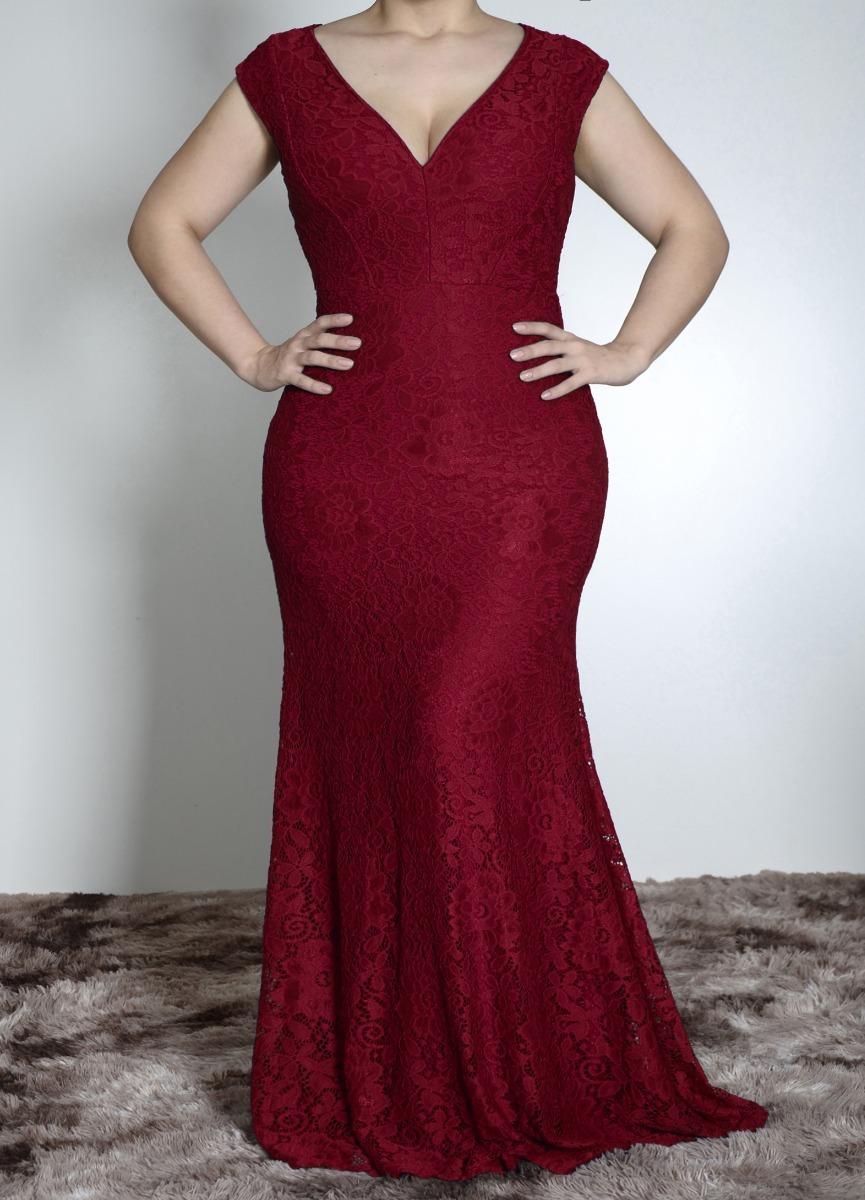 bc0dff365314 Vestido De Festa Longo, Sereia, Renda, Plus Size J007 - R$ 189,90 em ...