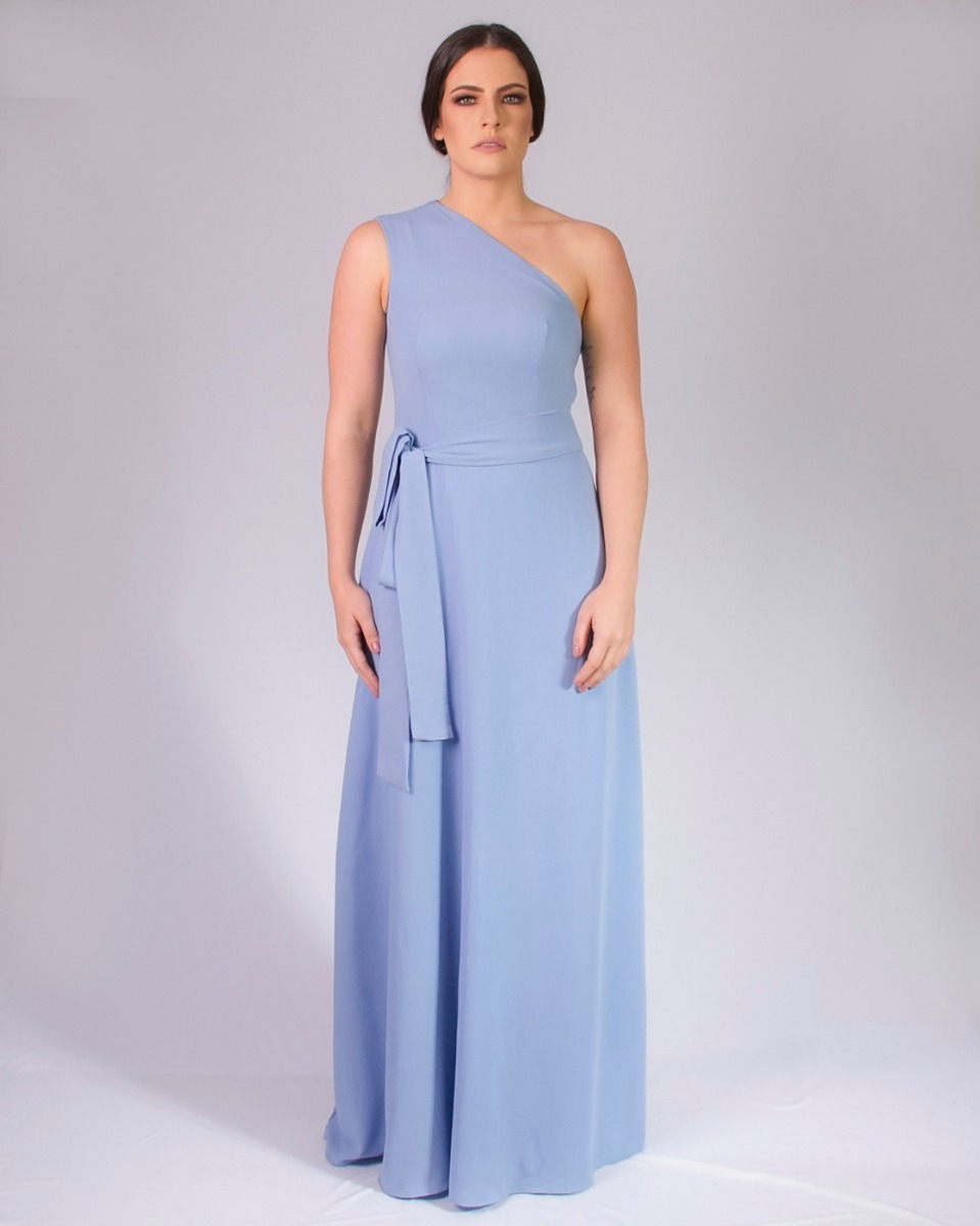 debdf5b1c vestido de festa longo um ombro só azul bebê tanamalasm. Carregando zoom.