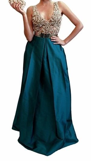 Vestido renda verde petroleo