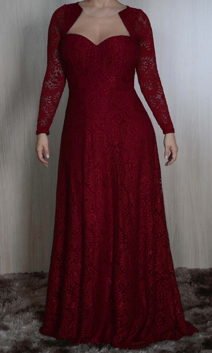1a49b197fdcf vestido de festa, madrinha longo em renda, plus size j008e. Carregando zoom.