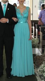 1fadf4ed91 Vestido De Festa Madrinha Longo Verde Tiffany P 36 38