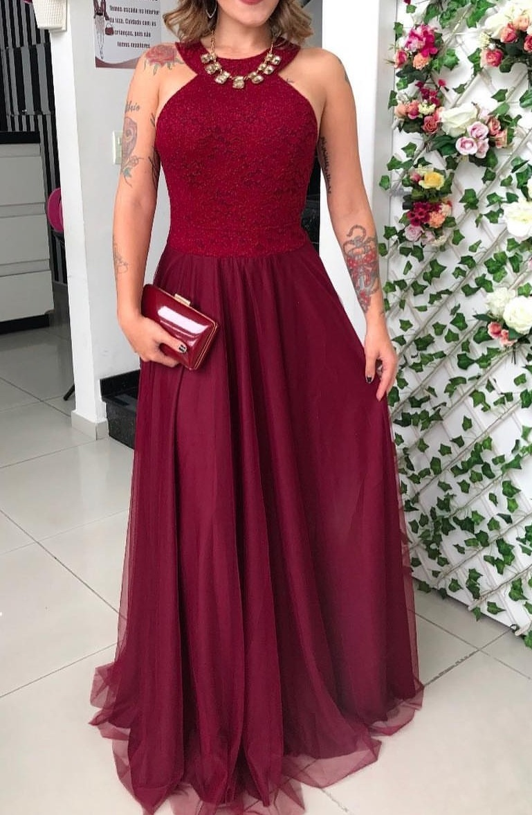 87ce470b8 vestido de festa madrinha marsala tifany luxuoso brilho vt. Carregando zoom.